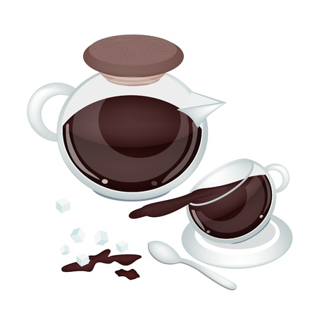 processed grains: Coffee Time, Three Cups of Coffee with Hot Coffee in Coffee Pot Illustration