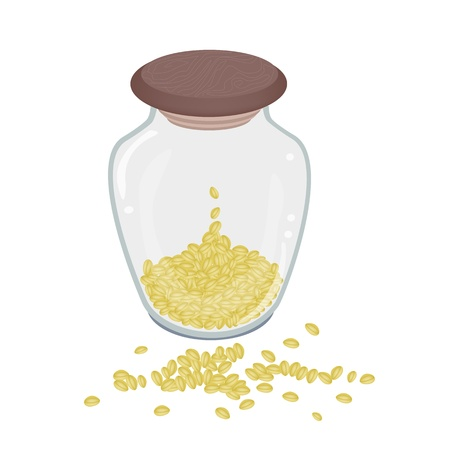 soy bean: An Illustration Heap Of Dried Split Peas in A Tall Glass Jar Isolated on White Background Illustration