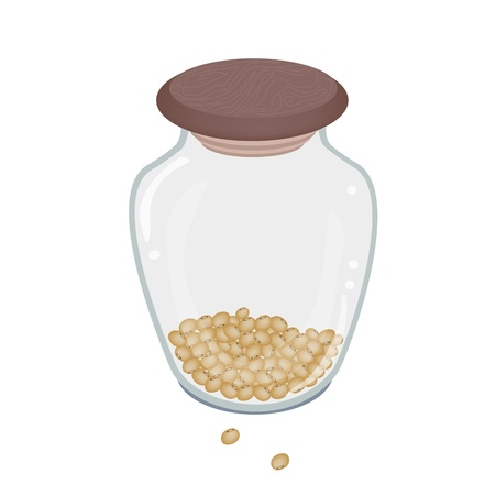 soy bean: An Illustration Heap Of Soy Beans in A Tall Glass Jar Isolated on White Background