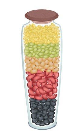 soy bean: A row of Different Dried Beans in A Tall Glass Jar, Mung Bean, Kidney Bean, Black Eye Bean, Soy Bean and Yellow Split Peas