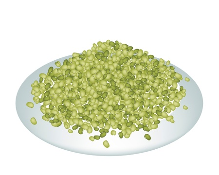 An Illustration Heap Of Mung Dried Beans Spilled on A Beautiful white Dish Isolated on White Background Ilustração