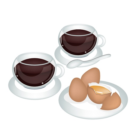 american cuisine: Coffee Time, A Cup of Hot Coffee with Fresh and Natural Egg Yolk Isolated on White Background