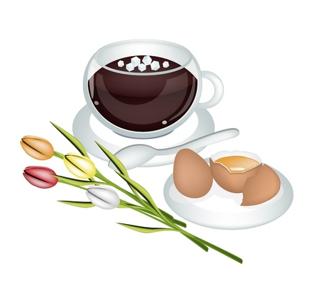 yolk: Coffee Time, A Cup of Coffee with Natural Egg Yolk and Tulip Flowers Isolated on White Background Illustration
