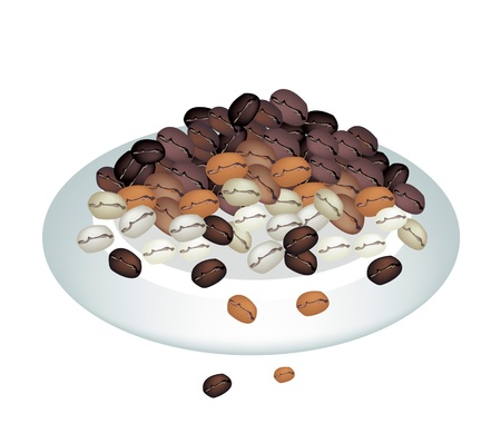pila: Coffee Time, An Illustration Various Colors of Roasted Coffee Beans Stack Isolated on A Beautiful White Dish