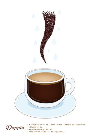 piccolo: Coffee Time, A Cup of Doppio Espresso with Coffee Bean Isolated on A White Background Illustration