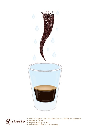 piccolo: Coffee Time, Ristretto or Very Short Shot of Espresso Coffee in A Shot Glass Isolated on A White Background