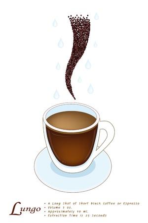 long shot: Una tazza di Lungo con Coffee Bean, Lungo � un tiro di Espresso che prendono fino a un minuto per tirare, e Fill 50 a 60 Millilitri Vettoriali