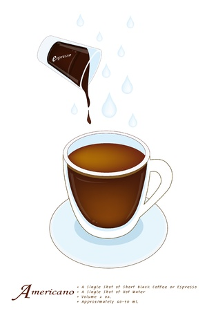 piccolo: Americano or Cafe Americano in A Glass Cup Isolated on A White Background, Americano is A Type of Coffee Created by Adding Hot Water into Espresso