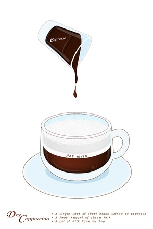 american cuisine: A Cup of Dry Cappuccino Coffee Isolated on A White Background, Dry Cappuccino Is A Shot of Espresso Coffee with Thick Foamed Milk on Top