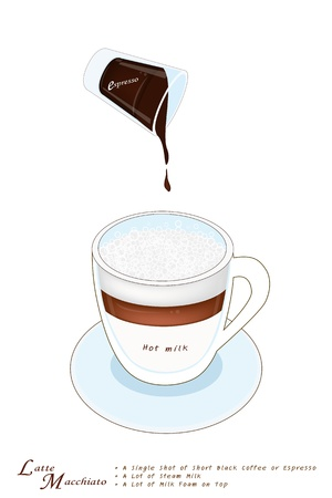 piccolo: Latte Macchiato in A Glass Cup, Latte Macchiato Is Small Amount of Espresso Coffee with Thick Foamed Milk