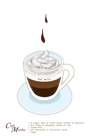 caffe: Cafe Mocha or Caffe Mocha in A Glass Cup, Cafe Mocha Is Based on Espresso and Hot Milk with Chocolate and Sugar Topped with Whipped Cream