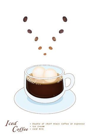 piccolo: Coffee Time, A Glass Cup of Sweet Iced Coffee Serve With Ice Cream Isolated on A White Background