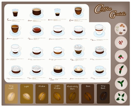 Guida per il caffè, illustrazione Raccolta di diciannove tipi di drink e caffè chicchi di caffè tostato con lavorazione del caffè Archivio Fotografico - 22071467