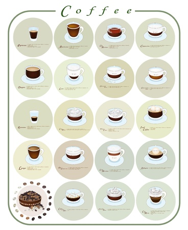 Coffee Guide, Nineteen Types of Coffee Menu or Coffee Guide on Retro Blackground  Vector