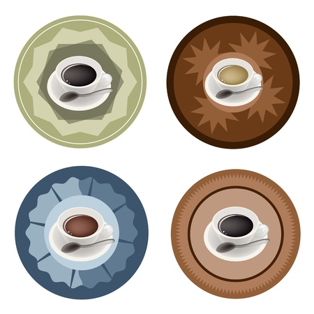 Coffee Time, Different Types of Hot Coffee in White Ceramic Cups on Round Retro Labels Vector