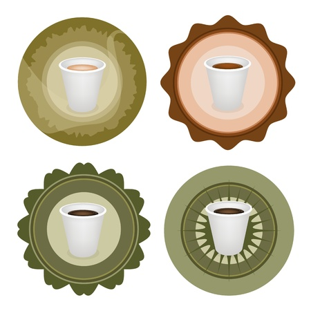 piccolo: Coffee Time, Different Types of Coffee in A Disposable Cup on Round Retro Labels