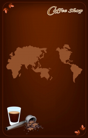 Coffee Menu, A Shot of Hot Coffee with A Bueatiful White Rose and Coffee Beans in Portafilter on World Map Background for Restaurant, Cafe, Bar, Coffeehouse and Coffee Shop Vector