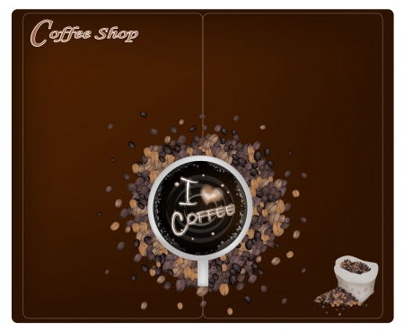 coffee sack: Coffee Menu, Latte Art of Milk Cream Writing I Love Coffee Word on A Cup of Coffee with Coffee Beans in A Sack on Brown Background for Restaurant, Cafe, Bar, Coffeehouse and Coffee Shop Illustration