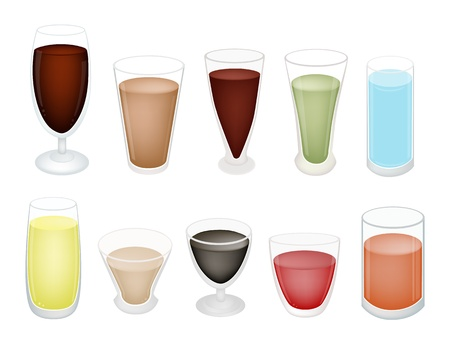 An Illustration Collection of Soft Drink and Juice in Various Flavours and Colors  Vector