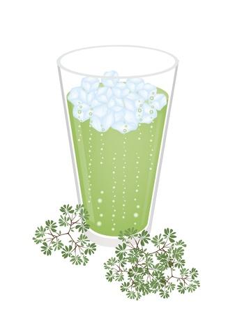 chinese tea cup: Una copa de helado Matcha T� verde con hojas verdes, el t� verde es un alto valor nutritivo y refrescante