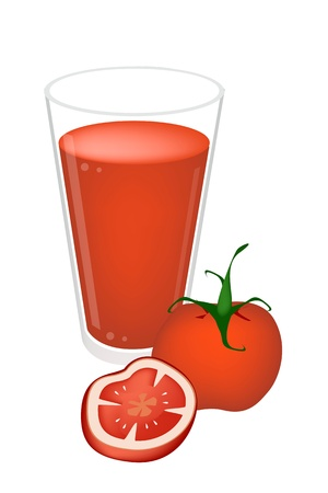 blended: A Dish of Sweet Red Tomato and Tomatoes Cross Section with Tomato Juices  Illustration