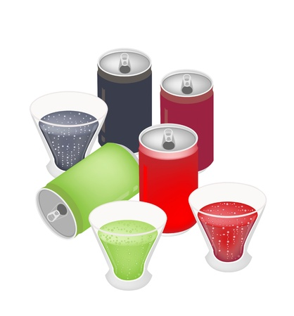 An Illustration Collection of Soft Drink and Soda in Various Flavours and Colors in Glass and Metal Cans  Vector