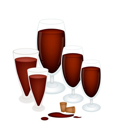 and grape juice: A Glass of Grape Juice or Red Wine with Wine Cork Isolated on White Background