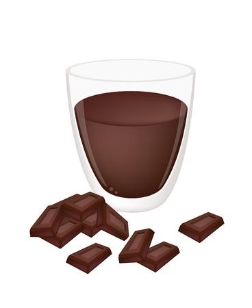 chocolat chaud: Chaud cacao ou chocolat chaud dans une tasse en verre de chocolat noir