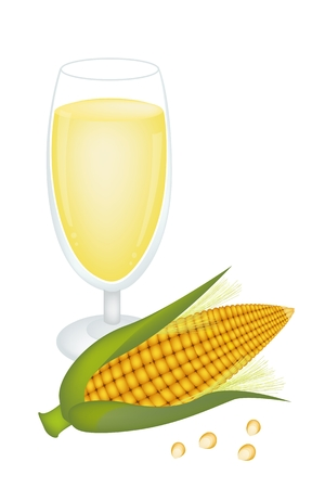 processed grains: An Illustration of Fresh Ripe Sweet Corns with A Glass Corn Juice or Corn Milk,  A Highly Nutritious and Refreshing Juice