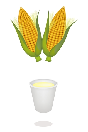 processed grains: Fresh Ripe Sweet Corns with A Disposable Cup of Corn Juice or Corn Milk, A Highly Nutritious and Refreshing Drink