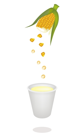 processed grains: The Processing of Corn Juice or Corn Milk from Corn Seed into A Cup, Corn Juice or Corn Milk Is A Highly Nutritious and Refreshing Drink
