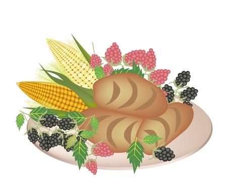 cornbread: An Illustration of Cornbread, Raspberry, Blackberry and Sweet Corn on A Platter for Holiday Dinner