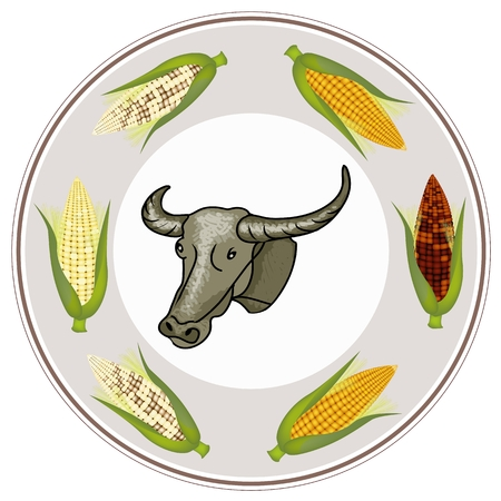 farme: A Buffalo with Four Different Colors of Fresh Corns, Purple, Yellow, White and Light Yellow on Circle Banner Stock Photo
