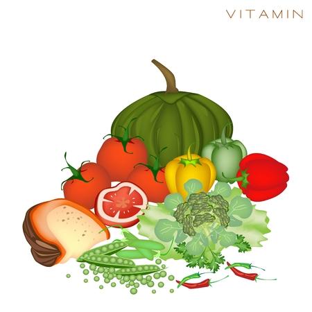 nutrients: Diversos tipos de vitamina alimentos para mejorar la ingesta de nutrientes y beneficios para la salud, la vitamina es uno de los principales tipos de nutrientes Vectores