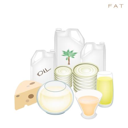 nutrients: Diversos tipos de productos de grasa para mejorar la ingesta de nutrientes y beneficios para la salud, la grasa es uno de los principales tipos de nutrientes Vectores