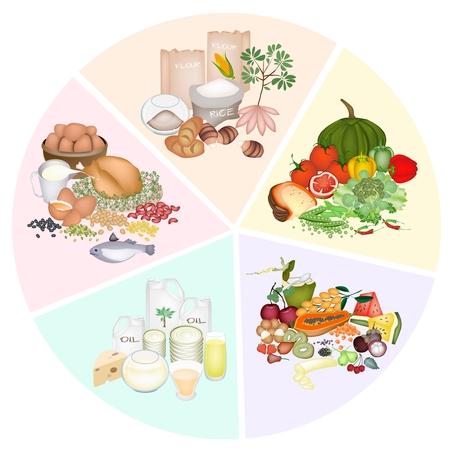 Un gráfico de sectores de grupos de alimentos en hidratos de carbono, proteínas, grasas, vitaminas y minerales para mejorar la ingesta de nutrientes y beneficios para la salud Foto de archivo - 22583150