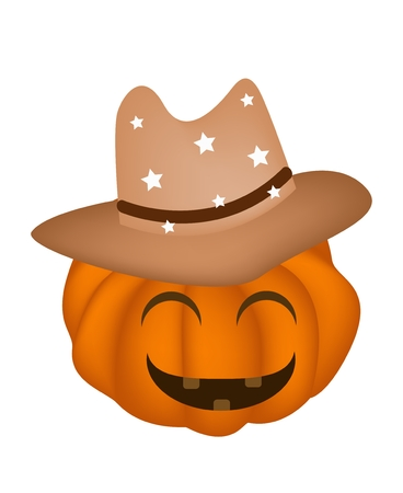 Jack-o-Lantern Pumpkin Wearing A Brown Cowboy Hat Isolated on White Background, For Halloween Celebration Vector