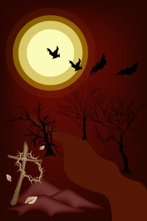 Halloween Background of The Graveyard in Full Moon Night with A Crown of Thorns Hanging on A Wooden Cross, Sign for Halloween Celebration Vector