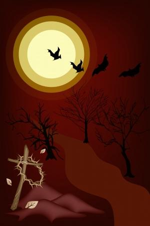 cruz de madera: Halloween de fondo de El Cementerio en la Luna Llena con una corona de espinas colgando de una cruz de madera, signo para la celebraci�n de Halloween