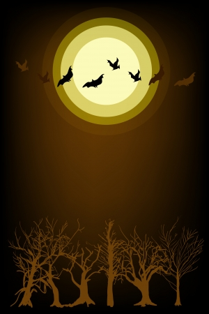 Halloween Background of Evil Bats Flyig on A Spooky Forest in Moonlight Night, Sign for Halloween Celebration Vector