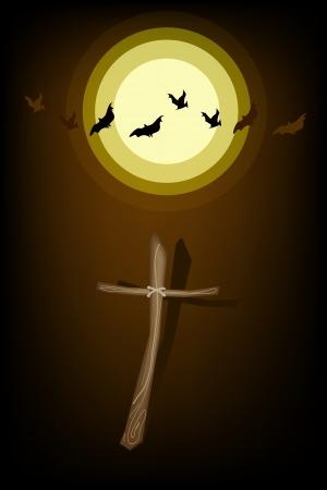 cruz de madera: Halloween de fondo de El Cementerio en la Luna Llena con la cruz de madera y palo Evil, �nete para la celebraci�n de Halloween Vectores