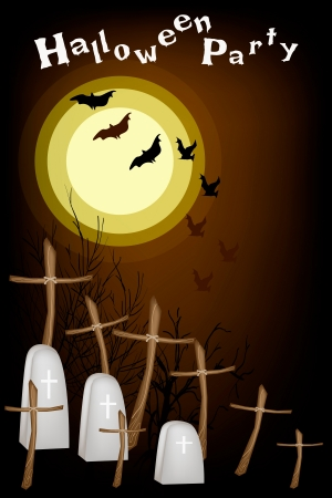 cruz de madera: Fondo del partido de Halloween de El Cementerio en la Luna Llena con la Cruz de madera y las piedras sepulcrales, �nete para la celebraci�n de Halloween