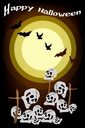 cruz de madera: Feliz Halloween de fondo de El Cementerio en la Luna Llena con la cruz de madera y cr�neos humanos, �nete para la celebraci�n de Halloween