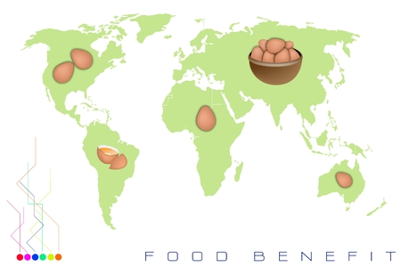food distribution: Food Benefit, Detailed Illustration of A Map of Egg Production and Distribution On A Global Scale
