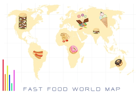Food Benefit, Detailed Illustration of A Map of Fast Food and Sweet Food Production and Distribution On A Global Scale Vector