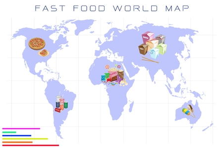carbonated beverage: Food Benefit, Detailed Illustration of A Map of Fast Food and Take Out Food On A Global Scale