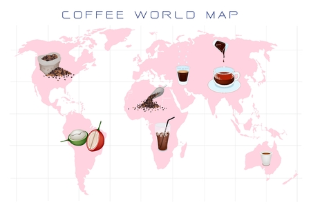 processed grains: Coffee Berries, Roasted Coffee Beans and Coffee Drink on World Map Background