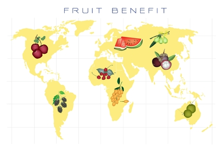 Food Benefit, A Map of Various Kind of Fruits Production and Distribution On A Global Scale Vector