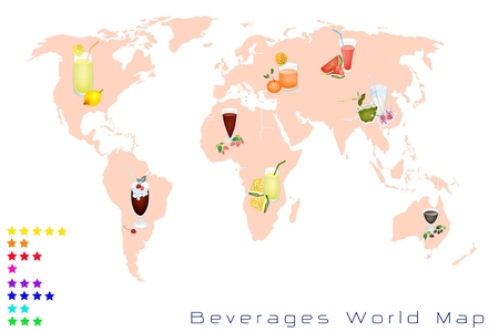 Beverages and Drinks, A Map of Various Kind of Soft Drink and Juice in Various Flavours and Colors On A Global Scale Vector