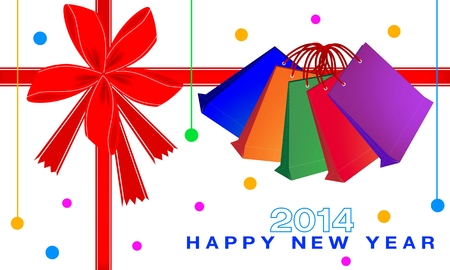 Colorful Paper Shopping Bags for 2014 New Year Greeting Card and Voucher  Vector